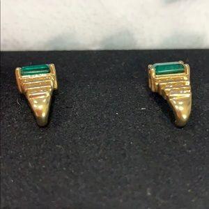"""Jewelry - Beautiful 14K Gold Emerald and Diamonds .625"""" long"""